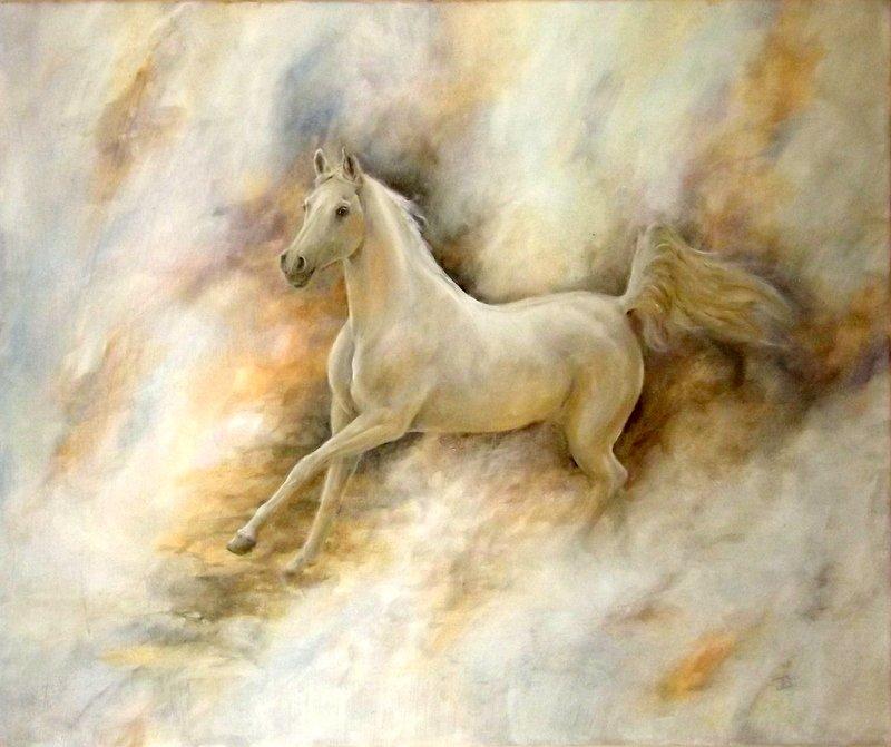 Chevaux jbillustration for Peinture sur fer a cheval