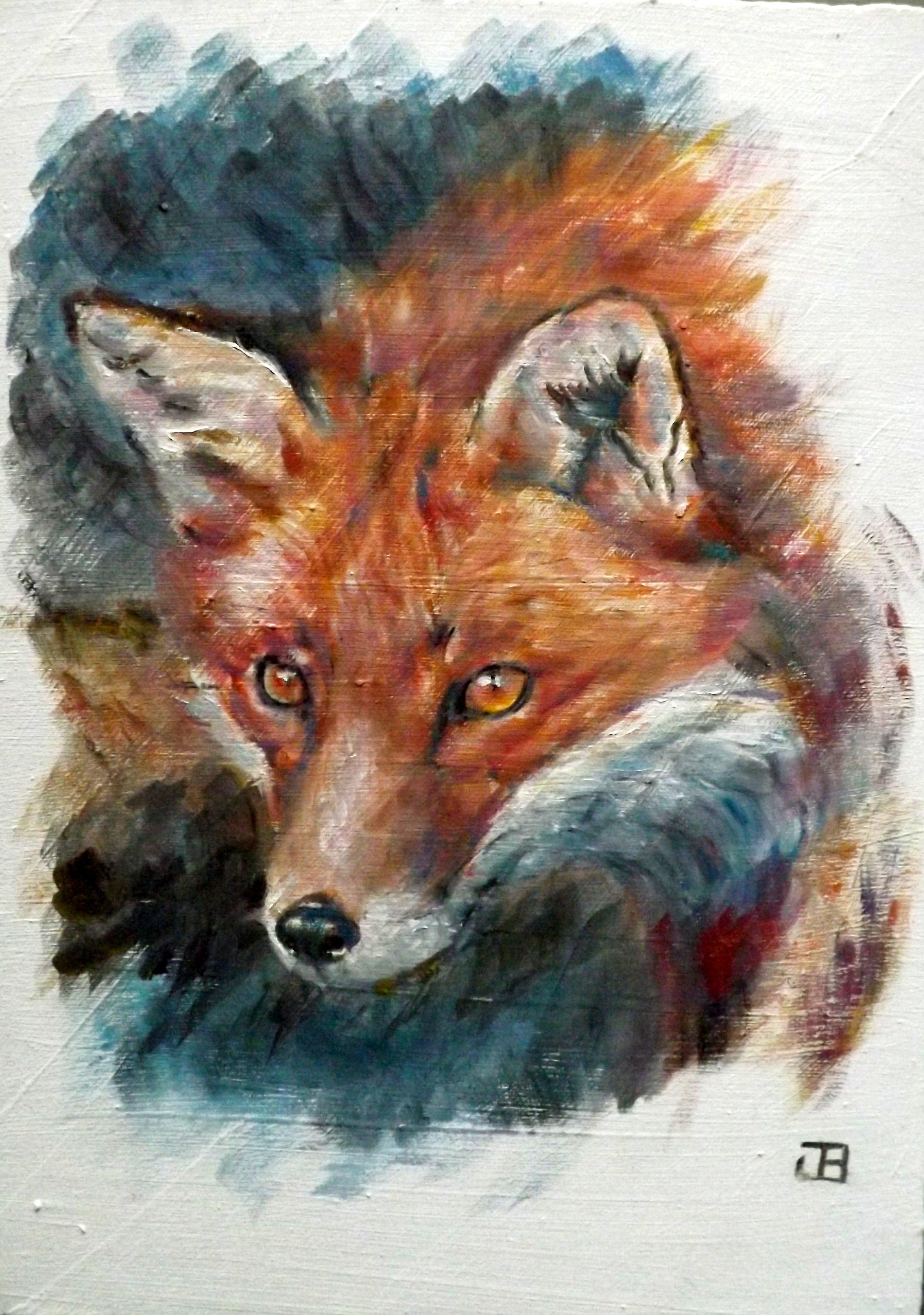 Portraitiste animalier jbillustration - Peinture a l huile sur bois ...